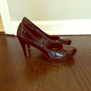 Franco Sarto patent leather platform heels